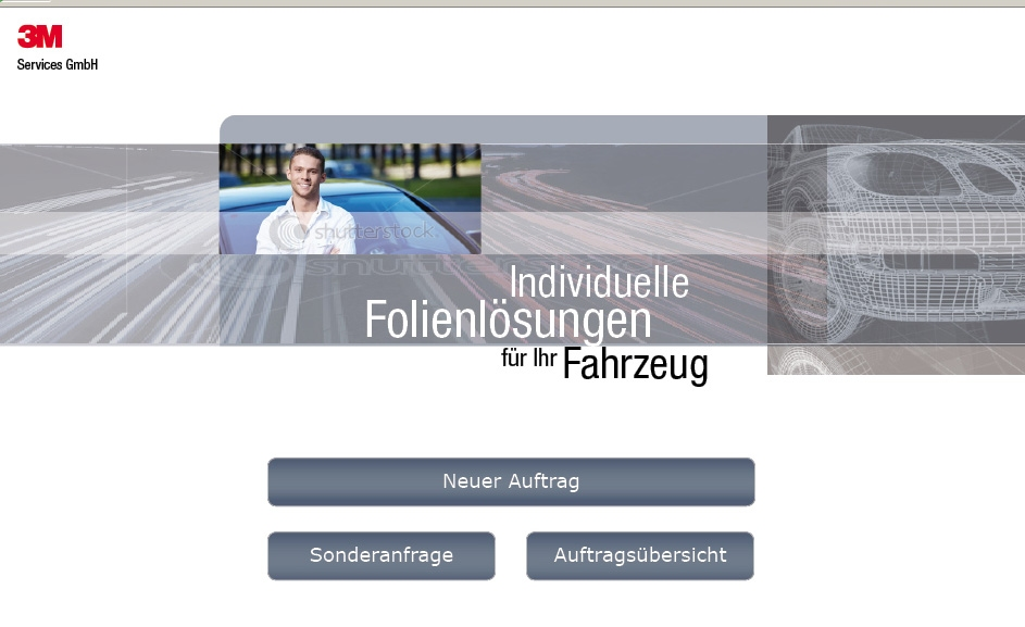 Screenshot Folienbestellsystem Zuschnitt 3M Services